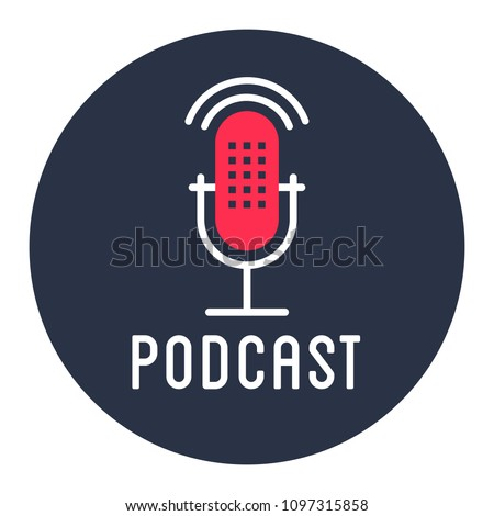 Podcast radio icon illustration set. Studio table microphone with broadcast text on air. Webcast audio record concept logo.