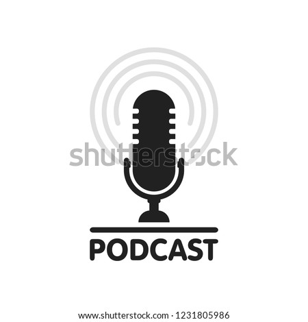 Podcast radio icon illustration. Studio table microphone with broadcast text podcast. Webcast audio record concept logo.