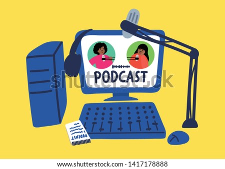 Podcast. Sound digital recording, editing, broadcasting with lettering. Tow african women talking to microphones on the screen. Vector illustration.