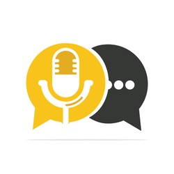 Podcast talk vector logo design. Chat logo design combined with podcast mic.