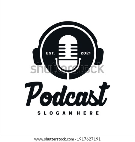 Podcast with microphone logo inspiration. design template, vector illustration. ストックフォト ©