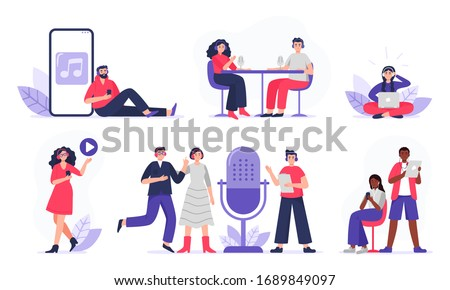 Podcasters and listeners with headphones, radio hosts recording podcasts. Men and women with smartphones studying, listen to podcasts. Flat vector characters isolated on white background.