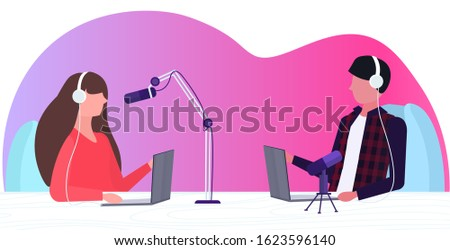 podcasters talking to microphones recording podcast in studio podcasting online radio concept man in headphones interviewing woman broadcasting portrait horizontal vector illustration