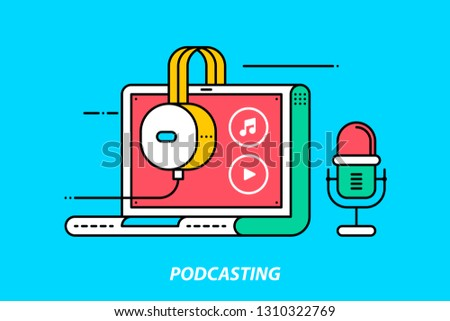 Podcasting. Colorful illustration on bright cyan background. Modern outline style.
