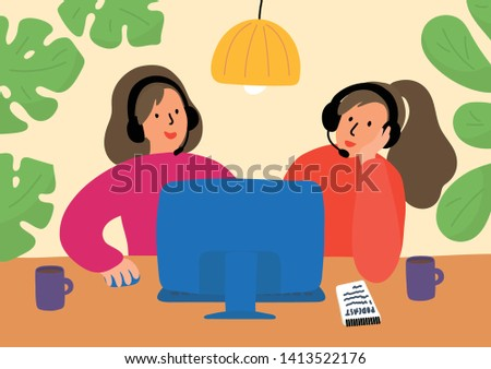 Podcasting. Two women with recording, editing, or broadcasting podcast, online training, or online radio. Women sitting at the table with pc and talking to microphones. Vector illustration.