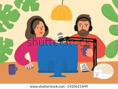 Podcasting. Woman and man recording, editing, or broadcasting podcast, online training, or online radio. People sitting at the table with pc and talking to microphones. Vector illustration.
