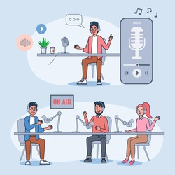 Podcasts are popular with people who like exotic, knowledgeable and self-developed. Internet radio, podcast recording and listening concept flat illustration vector design