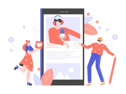 Podcasts, radio, online courses, webinars. Young people study, listen to a lecture on a smartphone. Distance online education. Vector flat illustration.