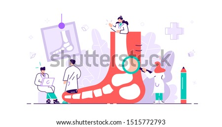 Podiatrist concept. Feet toe trauma, pathology and illness discomfort treatment with examination, surgery or procedures. Tiny foot, ankle and lower extremity disease persons. Flat vector illustration Stockfoto ©