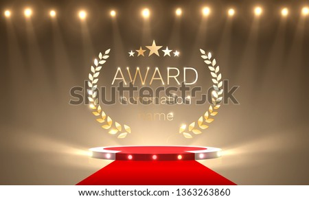 Podium award in the background with spotlights. Vector illustration