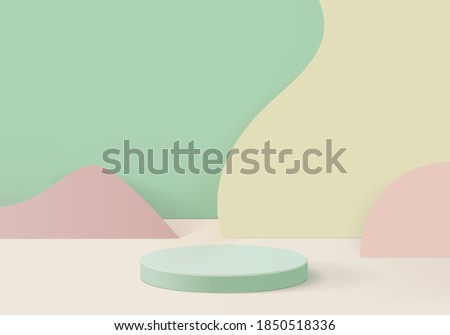 podium 3d background minimal scene with geometric platform. background vector 3d rendering with podium. podium to show cosmetic products. Stage showcase on pedestal modern 3d studio green pastel