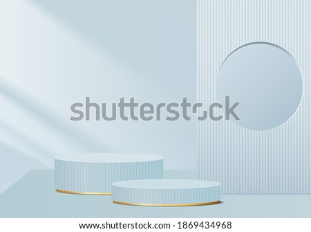 Podium 3d showcase minimal scene with geometric platform. cylinder background vector 3d rendering with podium. stand for cosmetic products. Stage showcase on pedestal abstract 3d studio blue pastel