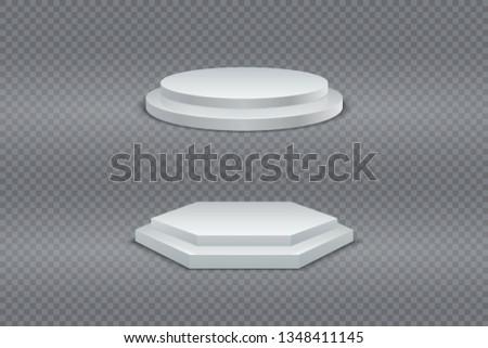 podium 3d white round and