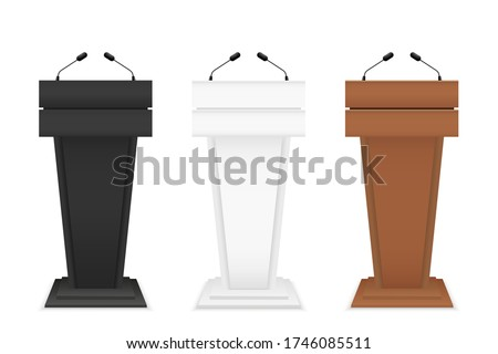 Podium for speech. Rostrum stand with microphone. Tribune for debate of speakers. Pulpit for conference and presentation. Pedestal for lecture and speaking. Empty wood podium in audience. Vector. Zdjęcia stock ©