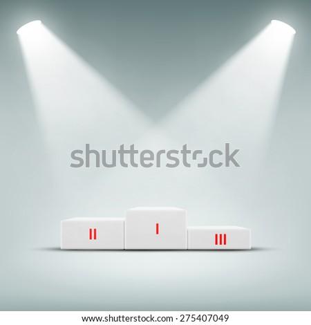 podium for winner illuminated