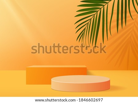 Podium minimal on stage with palm summer orange platform. studio background vector 3d rendering orange podium. Stage to show cosmetic product. Stage summer on pedestal modern 3d studio orange platform