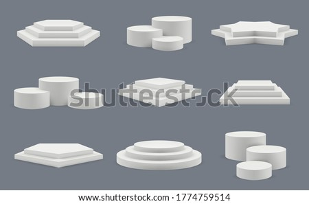 Podium. Pedestal for winners standing blank showroom round platforms floor presentation vector templates
