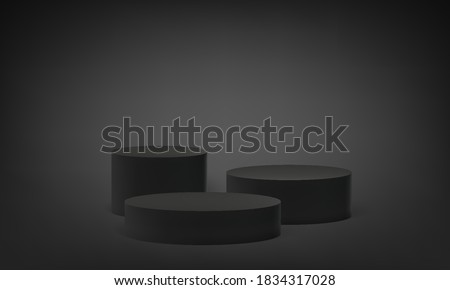 Podium platform on 3D base stand, vector round stage pedestal on black gray background. Round pillar block stand or scene pedestal in studio, empty isolated columns on podium platform