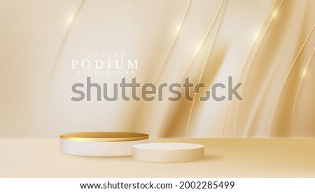 Podium product display with golden curve line on luxury canvas background. empty space for place beauty or cosmetics product, 3d realistic vector illustration.