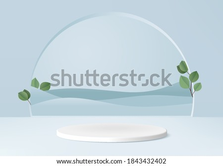 Podium product minimal scene with geometric platform. stand background vector 3d rendering with podium. stand to show cosmetic products. Stage show product on pedestal modern 3d studio blue pastel