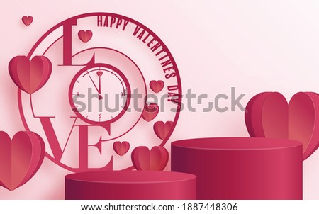 Podium round round  and paper art Valentine's day greeting card with heart love and rose paper cut art and craft style on paper background for Happy Valentine's day