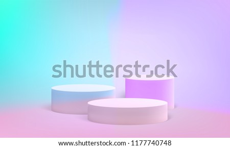 Podium scene or pillar stand for minimal pastel background. Vector round podium stand for studio 3D render