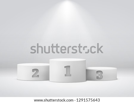 Podium sports awards. Winners celebrate rewards competition triumph winning round pedestal empty spotlight stadium vector illustration