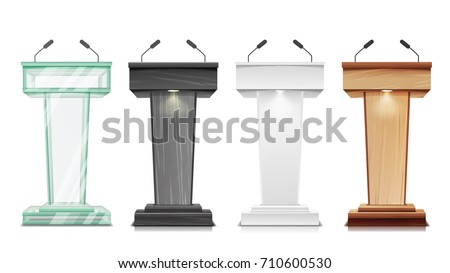 Podium Tribune Set Vector. Debate Podium Rostrum Stand With Microphones. Business Presentation Or Conference, Speech Isolated Illustration