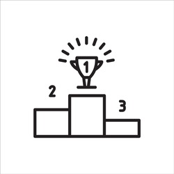 Podium, winner cup. Flat line vector icon for mobile application, button and website design. Illustration isolated on white background. EPS 10 design, logo, app, infographic,