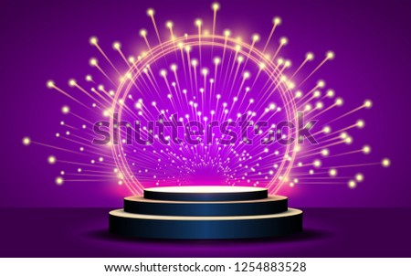 podium with abstract light in the pink studio room - Shutterstock ID 1254883528