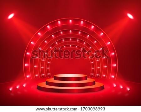 Podium with lighting. Stage, Podium, Scene for Award Ceremony. Vector illustration Photo stock ©