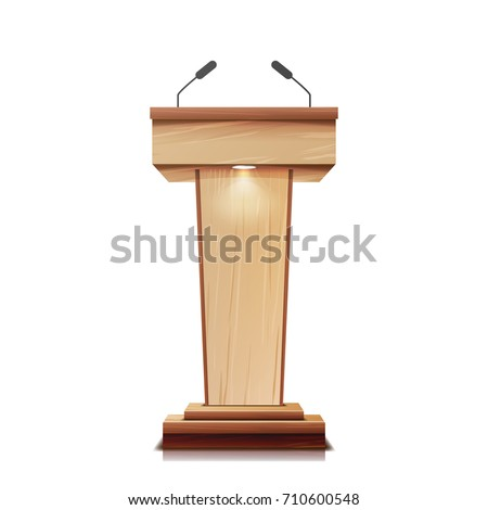 Podium With Microphone. Realistic Wooden Tribune Pulpit Isolated Vector. With Two Microphones. Wooden Classic Conference Podium Stand Rostrum. Illustration   Zdjęcia stock ©