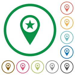 POI GPS map location flat color icons in round outlines on white background
