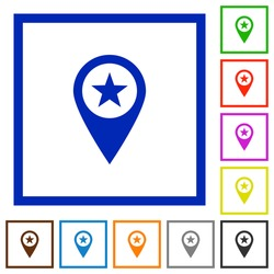 POI GPS map location flat color icons in square frames on white background