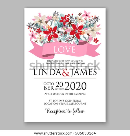 poinsettia wedding invitation sample card beautiful winter floral ornament christmas party wreath poinsettia pine branch