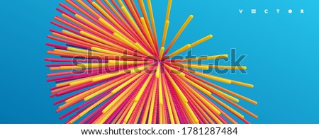 Point explode. Array with dynamic emitted particles. 3d technology style. Abstract background. Vector illustration. Foto stock ©