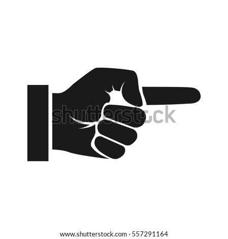 Point finger silhouette. Direction black icon. Man hand gesture pictogram. Vector illustration flat style design. Isolated on background. Push sign. Pointer direction forefinger.