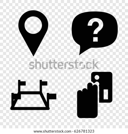 Point icons set. set of 4 point filled icons such as location pin, locations, exclamation