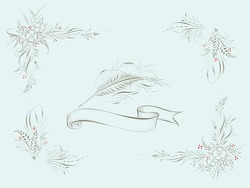 pointed pen off hand flourishes feather and flowers ink drawing ribbon holiday wreath vintage hand drawn calligraphy artwork
