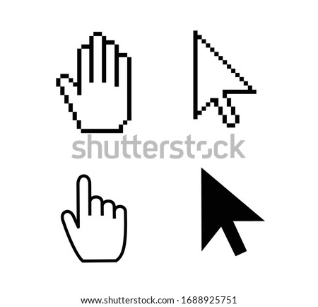 Pointer cursor icons. Web arrows cursors, mouse clicking and grab hand pixel icon. Computer pointers, internet cursor click. Vector isolated symbols collection. UI, UX interface elements for website