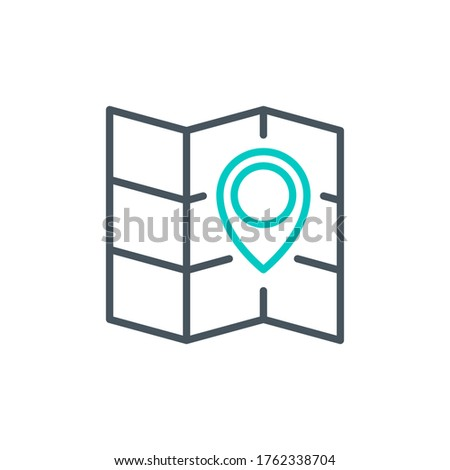 pointer cursor with magnifier glass outline flat icon map. Single quality outline logo search symbol for web design mobile app. Thin line design location marker logo. Loupe lens icon isolated on white Stock photo ©
