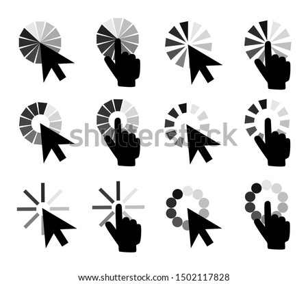 Pointer cursors icons: mouse hand arrow. Computer pointers, internet cursor click. Vector isolated symbols collection