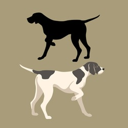 pointer dog vector illustration style Flat set silhouette