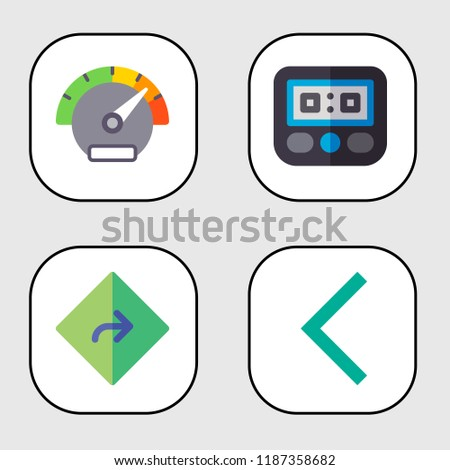 pointer icon set. speedometer,direction,left arrow concept. Modernpointer icons. multi-colored style bestseller of pointer illustrations.