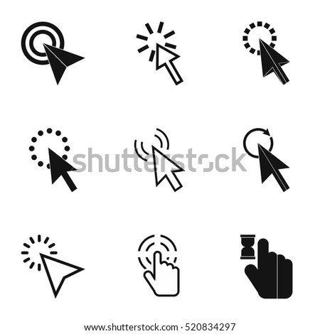 Pointer of computer icons set. Simple illustration of 9 pointer of computer vector icons for web