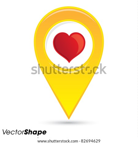 Pointer pin up icon with heart, web design element, favorite location concept, vector illustration