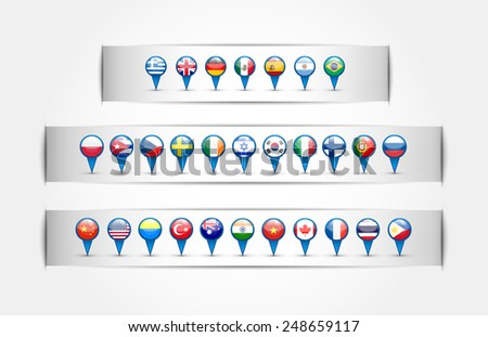 pointer with country flags in a round forme.Na white background. Isolated objects. Vector.