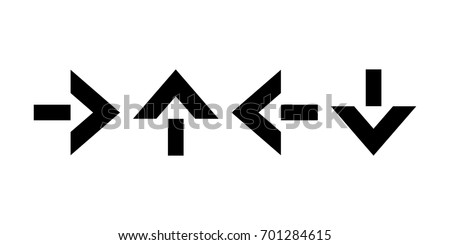 Pointers, arrows the direction of motion. Black silhouettes, signs isolated. Vector
