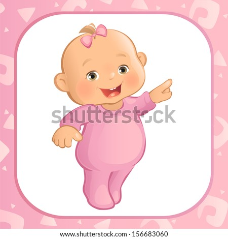 pointing baby girl  vector