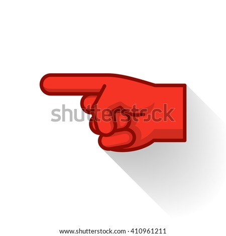 Pointing Finger Icon Red. Vector Illustration of a Hand Pointing with the Index Finger #410961211